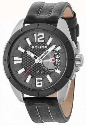 Police Hombres oitcher gun case correa de cuero negro dial 15240JSUB/02