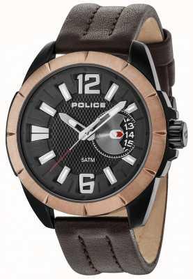 Police Cazadora para hombre marrón correa de cuero esfera negra 15240JSBBN/02