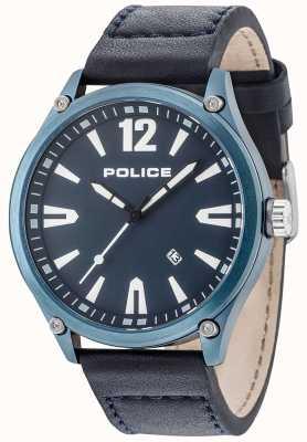 Police Mens denton azul caja azul dial cuero correa 15244JBBL/03