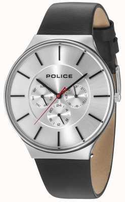 Police Correa plateada negra de cuero plateada plateada plata Dial de Seattle 15044JS/04