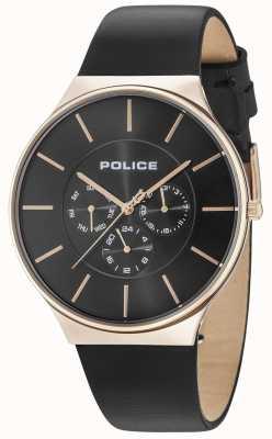 Police Caja de oro rosa de Seattle correa de cuero negro 15044JSR/02
