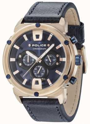 Police Armor ii caja de oro rosa esfera azul oscuro correa azul marino 15047JSR/03