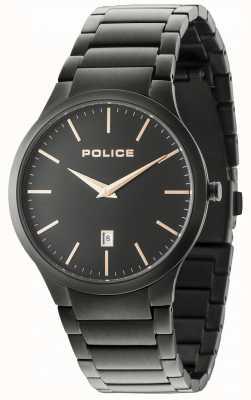Police Pulsera negra Horizon con esfera negra 15246JSB/02M
