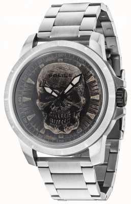 Police Reaper silver bracelet silver skull dial 14385JS/57M
