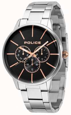 Police Pulsera Swift de acero inoxidable con esfera negra 14999JS/02M