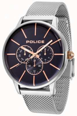 Police Swift pulsera de malla de oro rosa con esfera negra 14999JS/03MM