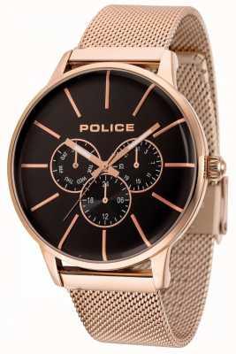 Police Swift pulsera de malla de oro rosa con esfera negra 14999JSR/02MM