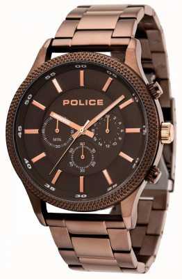 Police Pulsera marrón Pace con esfera gris 15002JSBN/13M