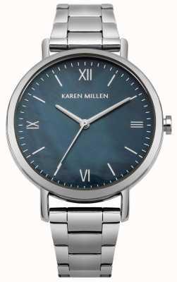 Karen Millen Pulsera con tapa de acero inoxidable con esfera de nácar azul KM159USM