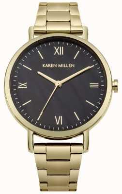 Karen Millen Pulsera de acero inoxidable dorado con esfera de nácar negro KM159BGM