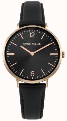 Karen Millen Esfera negra con brazalete de cuero negro KM163BRG