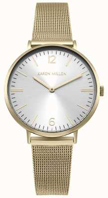 Karen Millen Esfera blanca con brazalete dorado de acero inoxidable KM163GM