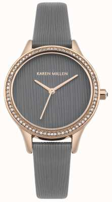 Karen Millen Esfera de cuero gris con textura fresca KM165ERG