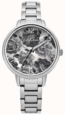 Cath Kidston Brazalete de plata esfera floral en blanco y negro CKL038SM