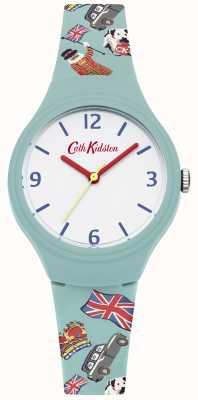Cath Kidston Cinta de silicio verde azulado correa impresa esfera blanca manos rojas CKL026N
