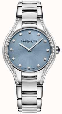 Raymond Weil Para mujer noemia diamante brazalete de acero inoxidable esfera azul 5132-STS-50081