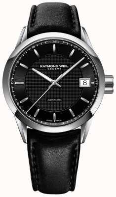 Raymond Weil Correa de cuero negro automático para hombre freelancer marca negra 2740-STC-20021