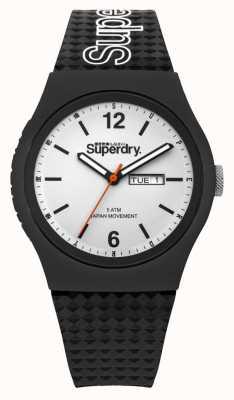 Superdry Correa de silicona negra blanca SYG179WB