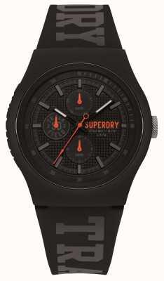 Superdry Correa de silicona negra estampada gris SYG188BB