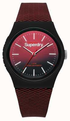 Superdry Esfera graduada de rojo a negro correa roja estampada SYG184RB