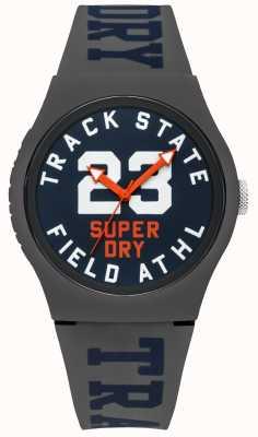 Superdry Indicador de estado de pista dial azul correa gris SYG182UE