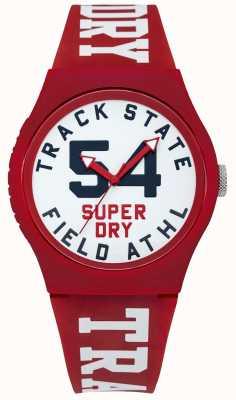 Superdry Indicador de estado de la pista marca esfera blanca correa roja SYG182WR