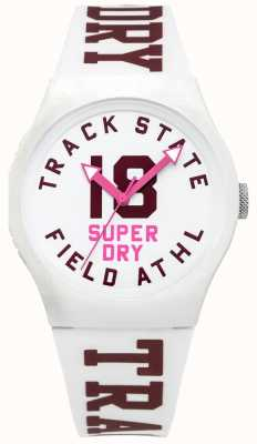 Superdry Track state print dial blanco cara correa blanca SYL182VW