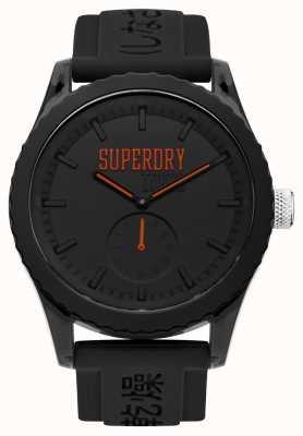 Superdry Tokyo black dial orange hands correa de silicona negra SYG145BB