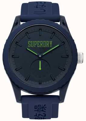 Superdry La marina de Tokio marca las manos verdes con correa de silicona azul SYG145UU