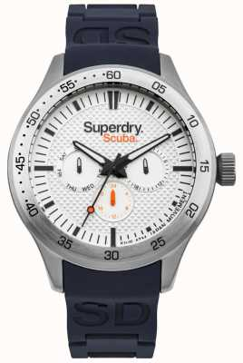 Superdry Bufanda de color blanco estampado azul correa de silicona en relieve SYG210U