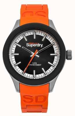Superdry Scuba black dial correa de silicona naranja SYG211O