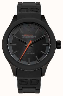 Superdry Esfera negra caja negra y correa de silicona negra naranja segunda SYG211EE