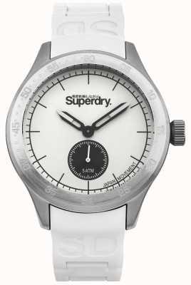 Superdry Esfera blanca de plata caja de acero inoxidable correa de silicona blanca SYG212W
