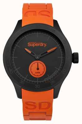 Superdry Scuba black dial correa de silicona naranja SYG212OB