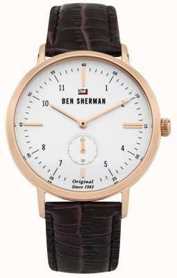 Ben Sherman El dylan profesional esfera blanca rosa caja de oro de cuero WBS102TRG