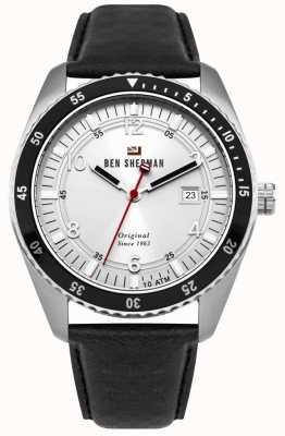 Ben Sherman La caja negra de ronnie sports dial silver cuero negro WBS107B