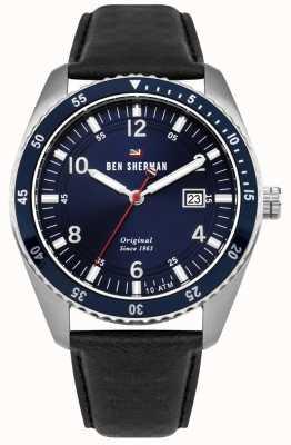 Ben Sherman El ronnie sports dial azul caja de plata cuero negro WBS107UB