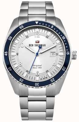 Ben Sherman El ronnie sports dial blanco azul bisel acero inoxidable WBS107SM