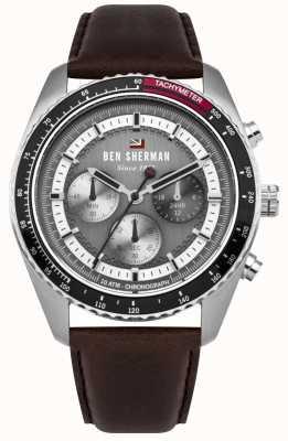 Ben Sherman El ronnie cronógrafo gris sunray dial correa de cuero marrón WBS108BT