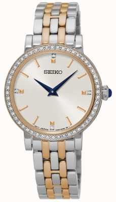 Seiko Conjunto de cristal para pulsera de dos tonos para mujer SFQ810P1