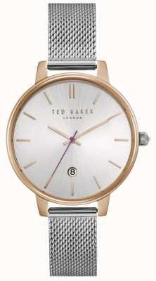 Ted Baker La exhibición de la fecha del dial de plata de las mujeres kate platea la malla de la caja del oro TE15162011