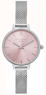 Ted Baker Pulsera de malla de acero inoxidable plateado rosa kate para mujer TE50070003