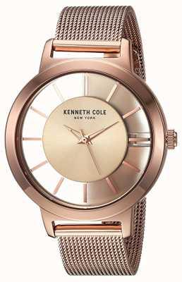 Kenneth Cole Mujeres de nueva york cuarzo rosa oro malla de acero inoxidable KC15172002