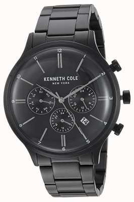 Kenneth Cole Exhibición de la fecha de la caja del acero inoxidable del negro del dial del negro de Nueva York KC15177003