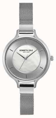 Kenneth Cole Brazalete de malla de acero inoxidable plateado de Nueva York KC15187001