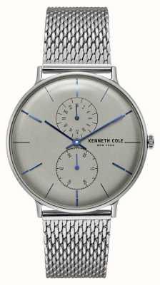 Kenneth Cole Pulsera de malla de acero inoxidable con dial de cuarzo gris de Nueva York KC15188002