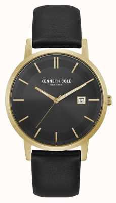 Kenneth Cole Pantalla de fecha de Nueva York esfera negra caja de oro cuero negro KC15202002