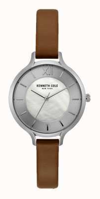 Kenneth Cole Nueva york correa plateada de cuero color canela oscuro KC15187005