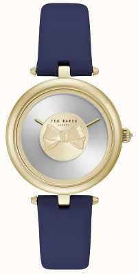 Ted Baker Arco dorado para mujer Dial azul correa de cuero TE15199003
