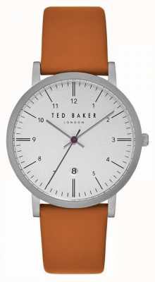 Ted Baker Correa de cuero marrón claro Samuel white dial TE15088002